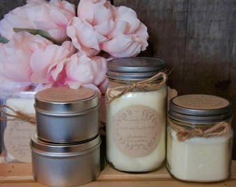 16 Ounce Mason Jar Candle//100% Soy Wax//Cotton Wick//Summer Spring Scents//Hand Poured