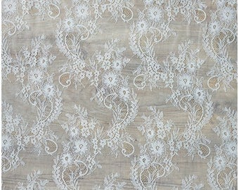 Eyelash wedding lace fabric, Bridal Lace Fabric,Soft, Evening dress Lace, Off-White - mat Chantilly Flower Lace, Lingerie Lace,  (CHF8-W)