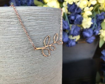 Rose gold leaves necklace rose gold necklace