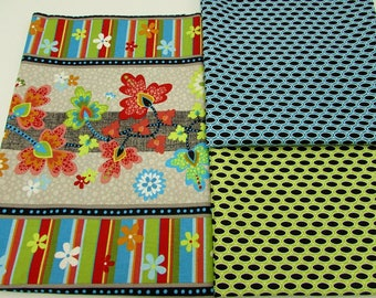 Contemporary cotton fabric, coordinating colorful prints with large floral, 3 yds Pizazz from Wilmington Prints, fabric stash, craft fabric