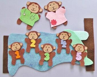 Five Little Monkeys Felt Board Set / Felt Board Stories / Preschool / Teacher Gift / Felt Song