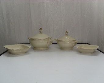 Antique Carstens Porcelains, Cream/Gold, Tureens / Bowls, 1900-1940 Germany