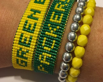 Green Bay Packers bracelet, Packers bracelet, NFL bracelet, football bracelet, Loom beaded bracelet, beaded friendship bracelet