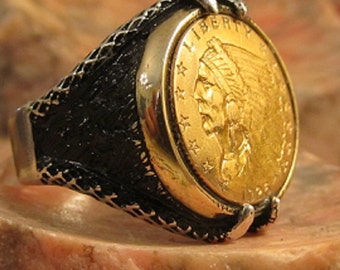 """Authentic 1925 Solid Gold Indian affordable and """"not like the rest""""! Men's Ring"""