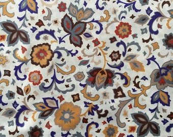 Autumnal Colored Floral Printed Light Weight Fabric, #dr117