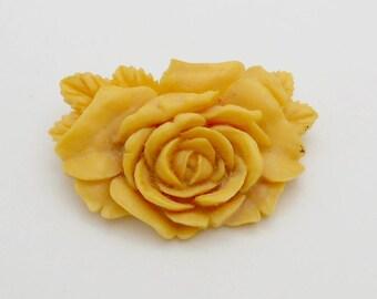 Vintage Celluloid Flower Rose Brooch--Beige