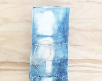 Hand Dyed Shibori Indigo Napkin Set // Boho, beach, napkins, table linens, summer entertaining, wedding gift, housewarming gift