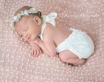 Girls Dollie Romper, Classic White, NB~ Newborn Photography Prop, Dollie Prop Newborn Tie Back Romper