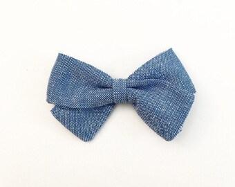 Blue Chambray Classic Bow - Baby Bows - Newborn Bows - Newborn Head Bands - Baby Headband - Toddler Hair Bows - Hair Bows - Hair Accessories
