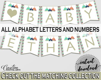 Banner Baby Shower Banner Tribal Teepee Baby Shower Banner Baby Shower Tribal Teepee Banner Green Navy party organizing - KS6AW