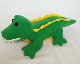 Green crocodile, plush crocodile,  crocodile teddy, polka dot crocodile, Croc, crocodile bear, fleece crocodile, happy crocodile,  alligator