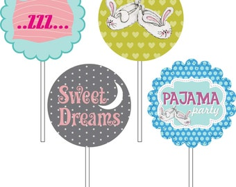 Топперы для десертов Пижамная вечеринка/ Pajama Party cupcake toppers