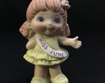 Vintage 1980's Miss June Figurine (#9376 made in Taiwan)~ Russ Berrie & Co.   (TTT8)