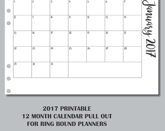 PERSONAL RINGS: 2017 12 Month Pull Out Calendars