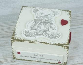 Sister Trinket Box Teddy Mini Keepsake Box Best Sister Ask For Birthday Gift F1434C W10