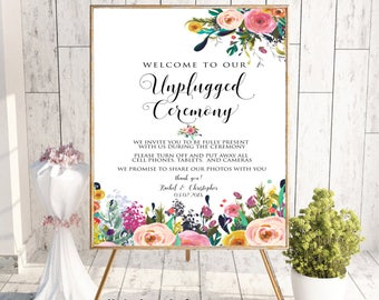 Unplugged Ceremony Sign, Unplugged Wedding Sign, No Cell Phone Sign, No Photography Sign, Welcome To Our Unplugged Wedding, Boho Floral