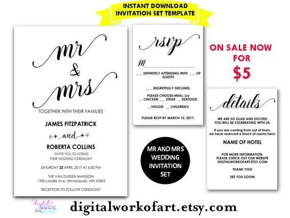 Mr And Mrs Wedding Invitation Wording: Wedding Invitation Template Mr And Mrs Printable Chic