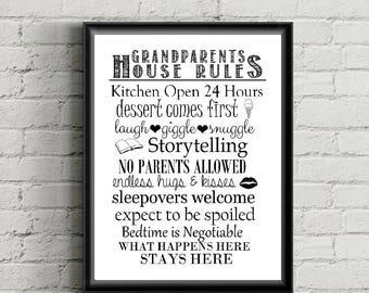 Grandparent's House Rules - Grandma & Grandpa - Nana and Papa - Grandchildren, Grandparents, Fun, Rules, Home, Family - Printable Wall Decor
