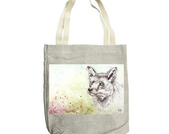 Tote bag, canvas tote bag, Fox tote bag, Shopper bag, Shoulder bag, Craft bag, Knitting Bag,