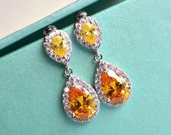 Citrine Topaz Teardrop Wedding Earrings, Sunflower Yellow CZ Crystal Drop Bridal Earrings, Yellow Wedding, Yellow Bridesmaid Earrings