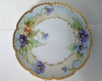 pansy plate with gold trim