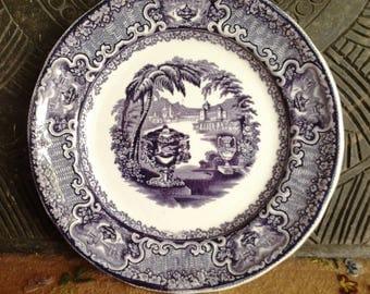 Washington Vase pattern purple and white transferware plate