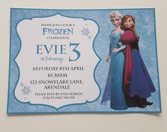 Pack of 10 ~ Frozen themed personalised invitations