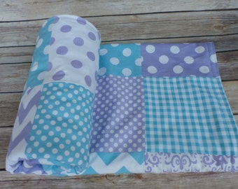 Aqua and light purple Blanket, Baby Blanket, Minky Blanket, Nursery Decor, lilac, aqua, robbin egg blue Nautical, Chevron, Nursery Decor