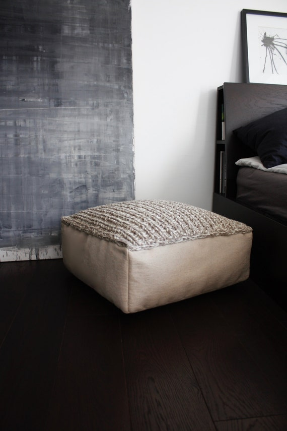 wool footstool-pouf ottoman-floor cushion-white brown knit