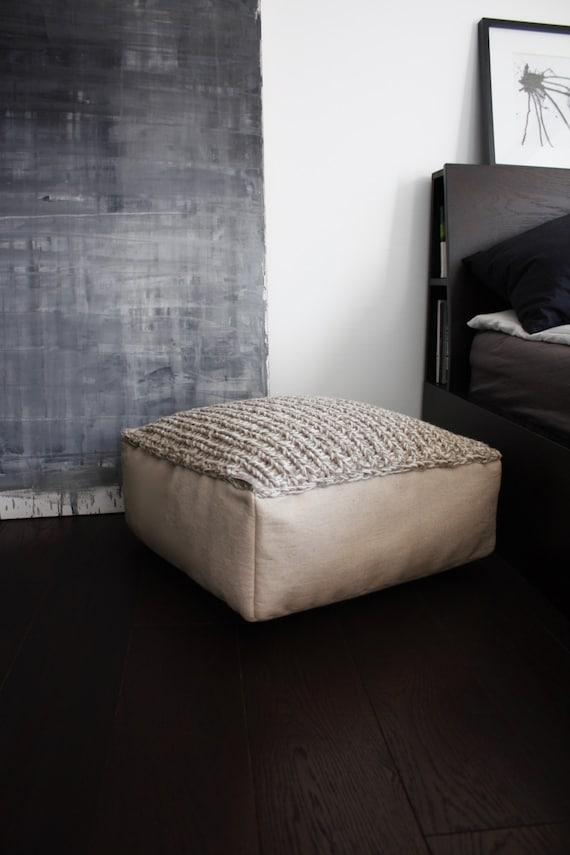 Floor Cushions For Nursery : wool footstool-pouf ottoman-floor cushion-white brown knit