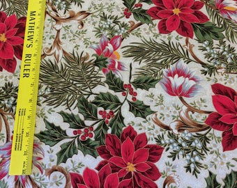 Let It Glow from Moda Fabric-Poinsettia and Holly