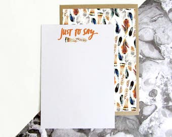 British Bird Feather Pattern Just to Say Postcards