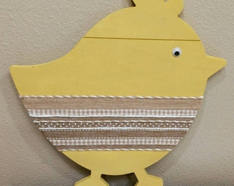 Yellow Easter Chick with Burlap and Ribbon Accents