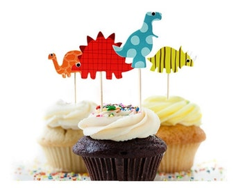 24 dinosaurs  cupcake toppers, dinosaurs baby shower theme cupcake  toppers,dinosaurs party decoration,good dinosaur cupcake toppers