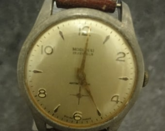 Gents Modchai Vintage  self wind watch possible around 40 years old  w/brown leather strap