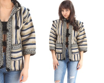 Peruvian Jacket 80s Aztec Striped Wool Blue Beige Hoodie Woven Vintage Mexican Short Coat Ethnic Folk Women Thick Pockets Navajo Extra Small