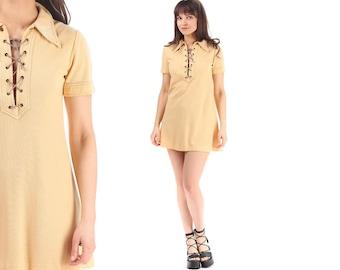 70s Mini Dress Shirt Dress 1970s Yellow Micro Mini Tee Dress Criss Cross Front Large Collar Hippie Tunic Dress Vintage Retro Hipster Medium