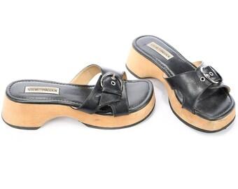 Wooden PLATFORM Sandals 1990s Black Mules 90s Slip On Grunge Leather Wedge Clogs Slingback Chunky Summer Shoes sz Eur 38, Us 7.5 , Uk 5