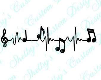 "2""h x 7""w Music Heatbeat Decal, Music Wall Art, Heartbeat Music Wall Stickers, Wall Art, Modern Wall Decals, Vinyl Wall Decals"