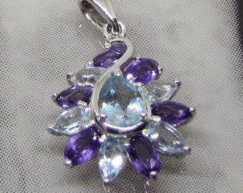 Decorated with natural amethyst and Blue Topaz 925 sterling silver pendant. 25% with code: SOLD17