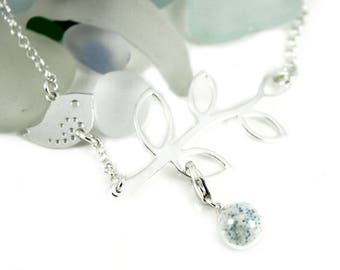 "DIY Breast Milk Sterling Silver Mother and Baby Necklace,""Milk Dust Series"" Do it Yourself DNA Breastmilk keepsake"
