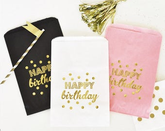 Happy Birthday Gold Foil Candy Buffet Bags (set of 12) birthday favor bags, candy favor bags, gold foil birthday favor bags, treat favors