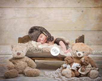 Newborn Digital Backdrop (brown/bed/bears)