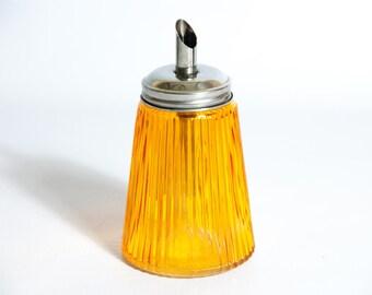 Vintage SUGAR DISPENSER  Amber Glass Sugar Dispenser Syrup Pourer Dispenser Jar Glass Sugar Container Sugar Pourer Orange Sugar Dispenser
