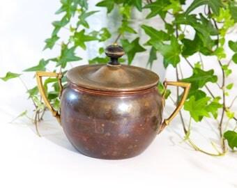 Copper sugar bowl, vintage sugar bowl with lid, metal sugar bowl, lidded copper bowl, sugar container, copper canister, copper container