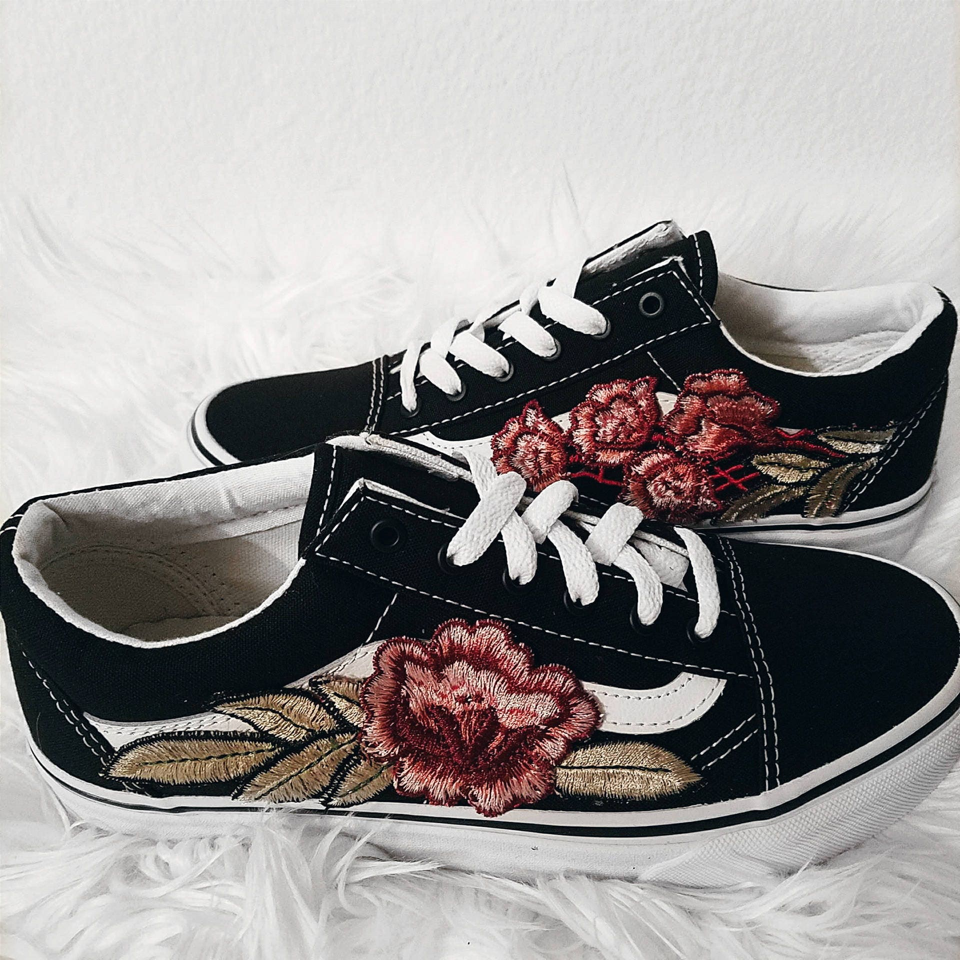 Low top unisex custom rose floral embroidered patch vans