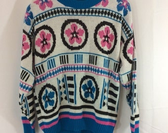 80s vintage white and pink blue flowers knit pullover sweater - size medium