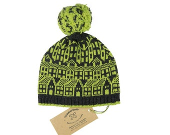 Cashmere knitted hat with pom-pom - Hebden Houses fairisle pattern - Luxury beanie - machine knitted - Charcoal and Lime bobble hat