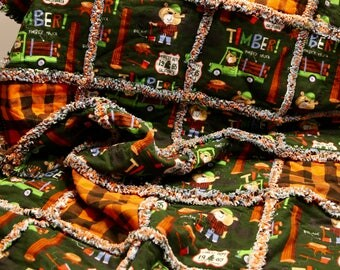 Timber Jack Little Boys Rag Quilt 36x61