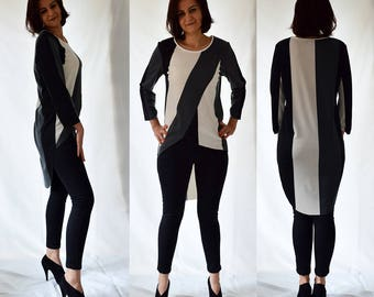 Grey, black, white, asymmetrical, jersey, striped, stretch, top, blouse, tunic Size UK 12, 14 / US 8, 10